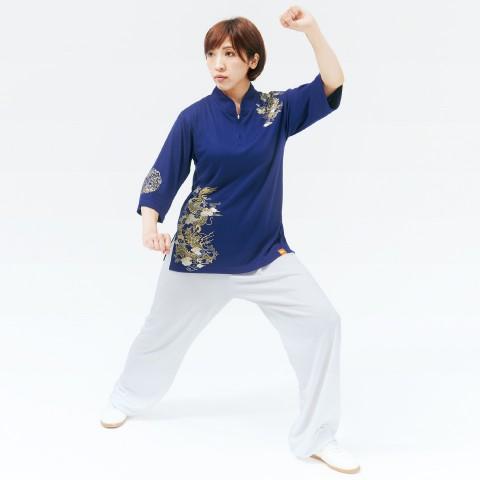 チャイナカラー七分袖シャツ [昇龍 (しょうりゅう) ] ネイビー